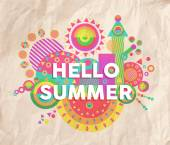 Hello summer quote poster design — Stock Vector