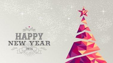 Happy new year 2016 card christmas tree triangle