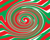 Red and green christmas pinwheel swirl design — Stock Photo
