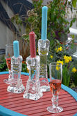 Candlesticks and wineglasses — Stockfoto