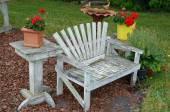Old wooden garden bench — Stock Photo