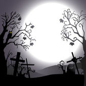 Halloween background - destroyed cemetery in full moon — Stock Vector