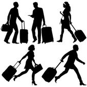 People in a hurry, on airport or station - vector silhouettes. — Stock Vector
