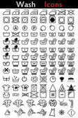 Washing instruction icons — Stock Vector