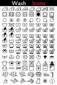 Washing instruction icons — Stock Vector