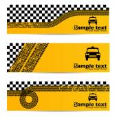 Taxi tire banner set of 3 — Vettoriale Stock