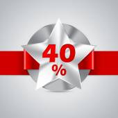 Fourty percent discount badge with red ribbon — Stockvector