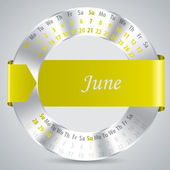 2015 june calendar design — Vettoriale Stock