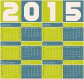 2015 calendar design with color rectangles — Stock Vector