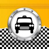 Taxi background with ripped paper and metallic icon — Stock Vector