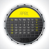 2015 april calendar with lcd display — Stock Vector