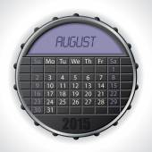 2015 august calendar with lcd display — Vettoriale Stock