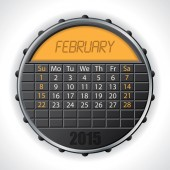 2015 february calendar with lcd display — Vettoriale Stock