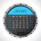 2015 january calendar with lcd display — Vettoriale Stock
