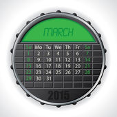 2015 march calendar with lcd display — Vettoriale Stock