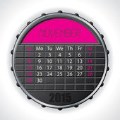 2015 november calendar with lcd display — Vettoriale Stock