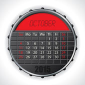 2015 october calendar with lcd display — Vettoriale Stock