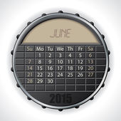 2015 june calendar with lcd display — Vettoriale Stock