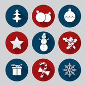 Flat christmas icon set  — Vetor de Stock