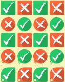Tick and cross symbols flat style — Stock Vector