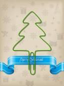 Christmas greeting with Christmas tree paper clip  — Stock Vector