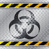 Bio hazzard warning sign on metallic plate — Stock Vector