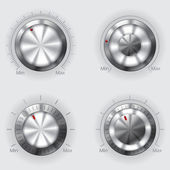 Metallic volume controllers — Vector de stock