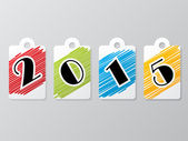 2015 label set with scribbled colors — Stock Vector