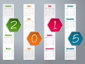 2015 hexagon calendar design for year 2015 — Stock Vector