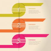 Curling color arrows infographic design — Stockvector