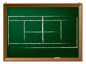 Tennis field on chalkboard — Stock Vector