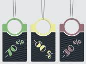 Striped discount labels hanging  — Stock Vector