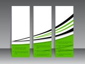 Green label set with black swoosh — Stock Vector