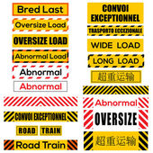 Various oversize load signs and symbols — Stock Vector
