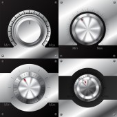 Volume knobs with black and metallic elements — Stock Vector