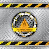 Flammable warning sign on metallic plate — Stock Vector