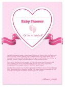 Pink baby shower invitation with text — Stock Vector