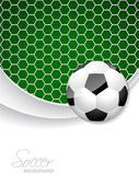 Soccer brochure design with ball and net — Stock Vector