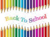 A fondo de la escuela con lápices y texto saludando — Vector de stock
