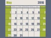 Blue green colored 2016 january calendar — Stock Vector