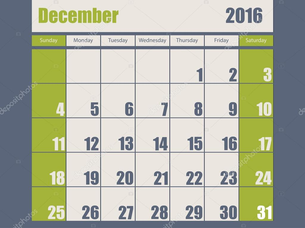 12 月のブルー グリーン色 2016年カレンダー デザイン \u2013 ストックイラストレーション