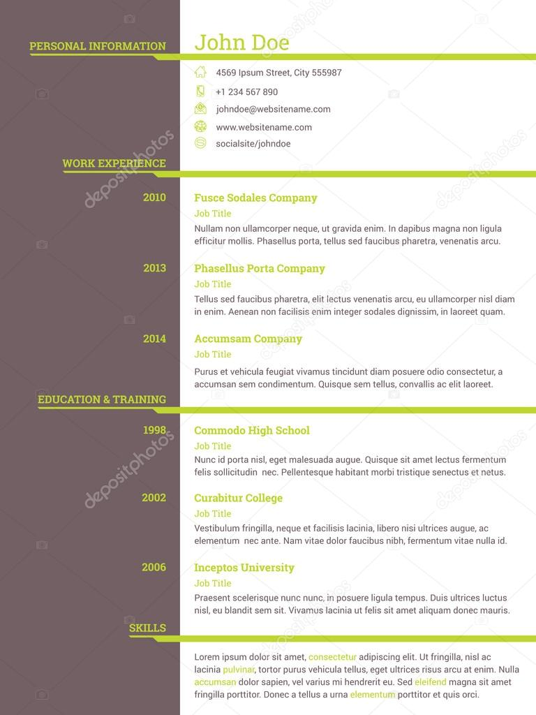 modern resume cv template for job seekers stock vector modern resume cv template for job seekers stock vector 91158346