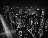 Stad bij nacht. vectorillustratie — Stockvector