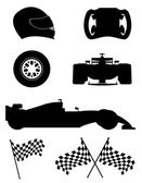 Black silhouette set racing icons vector illustration  — Vettoriale Stock