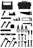 Black silhouette set tools icons vector illustration — Stock Vector