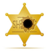 Sheriff star with a bullet hole vector illustration — Stock Vector