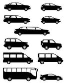 Set icons passenger cars with different bodies black silhouette  — Stock Vector