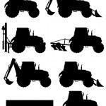 Постер, плакат: Set icons tractors black silhouette vector illustration