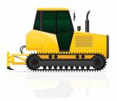 Caterpillar tractor with plow vector illustration — Stock Vector
