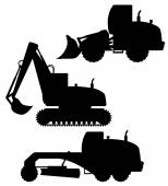 Car equipment for road works black silhouette vector illustratio — Stockvector